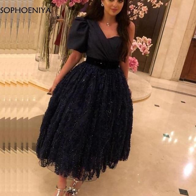 New Arrival Black Short muslim evening dress 2020 Lace Beading Muslimische abendkleider Formal dress Party