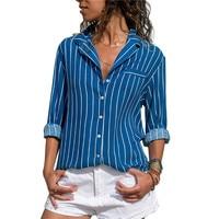 Блузка Для женщин Новинка Harajuku Рубашка в полоску модные отложной воротник женские офисные Топы Повседневное свободные 2019 2019 рукав блузки