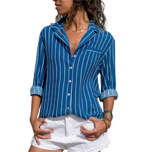 Blouse Women new Harajuku Striped Shirt Fashion Turn-down Collar Ladies