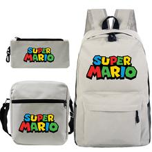 Nowy 3 sztuk zestaw Super Mario Bros plecak szkolny torby dla nastolatków chłopcy dziewczęta dzieci kobiety na co dzień na ramię plecak tanie tanio JUNBIE Płótno Miękki uchwyt Unisex Tłoczenie Miękka Chain Łukowaty pasek na ramię Moda backpack Poliester NONE zipper