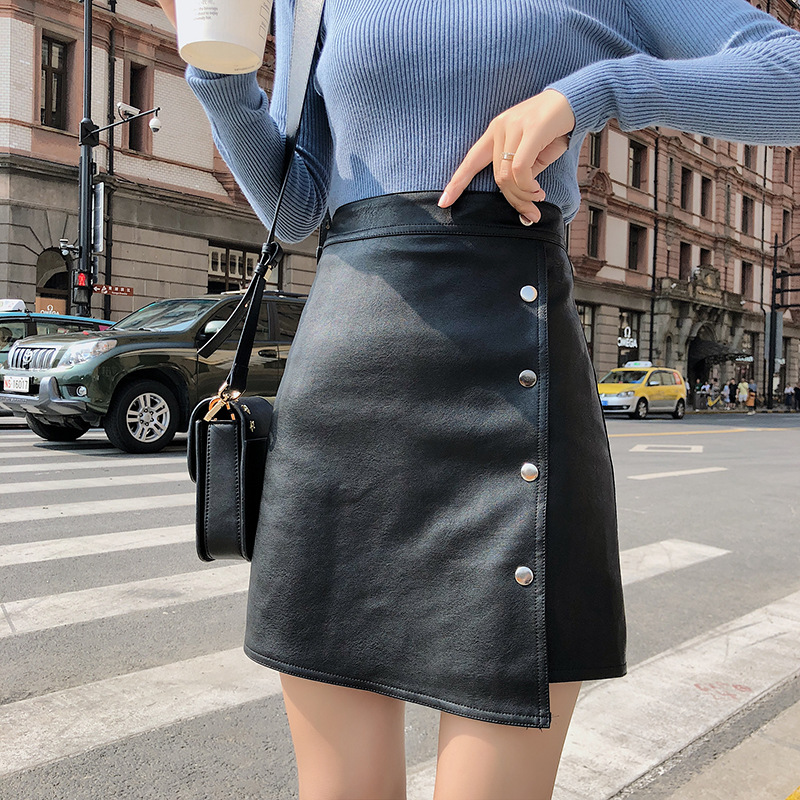 Leather Skirt 2019 Spring Autumn Women's Solid Color High Waist Slim Pu Leather A-line Skirt Fashion Button Black Skirts image