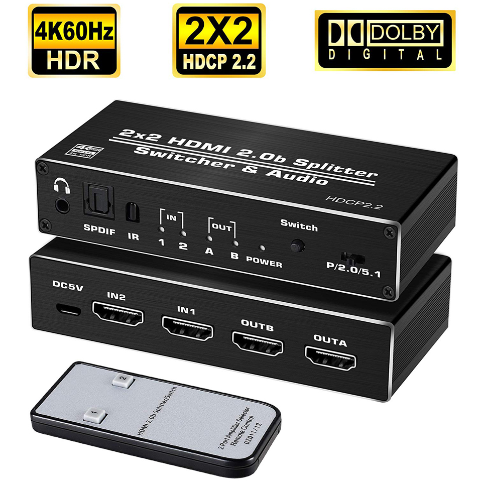 2019 4K HDMI 2.0 Switch 2 in 2 Out 4K@60hz, 2x2 HDMI Switcher Splitter with Optical Toslink SPDIF & 3.5mm Jack Audio Extractor