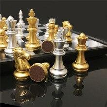 Juego de ajedrez de primera calidad, piezas de ajedrez magnéticas, juego de ajedrez de viaje, ajedrez dorado, ajedrez plegable, juegos intelectuales de plástico, ajedrez