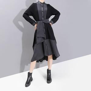 Image 3 - New 2019 European Fashion Full Sleeve Women Winter Black Shirt Dress With Sashes Patchwork Ladies Stylish Party Dress Robe 5743