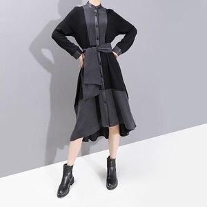 Image 3 - Nuevo 2019 moda europea manga completa mujer invierno negro camisa vestido con Sashes Patchwork señoras elegante vestido de fiesta bata 5743