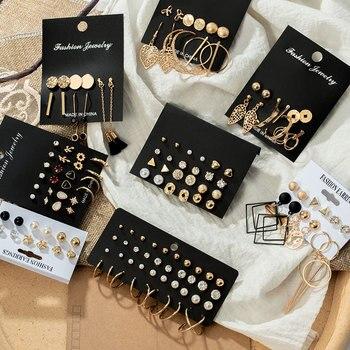 Fashion Womens Earrings Set Pearl Crystal Stud For Women 2020 Boho Geometric Round Flower Tassel Punk Jewelry
