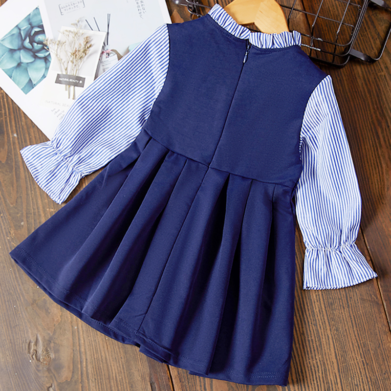 Hef1269d46e8045b684672a682df9b934H Bear Leader Girls Dress 2019 New Autumn Casual Ruffles A-Line Striped Full Sleeve Kids Dress For 3T-7T