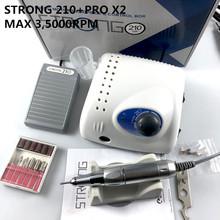 65W 35000RPM elektryczna wiertła do paznokci Strong 210 Model PRO X2 rękojeść Manicure Pedicure pilnik do paznokci Bit Nail Art Equipment tanie tanio LAAOVE CN (pochodzenie) Elektryczne manicure wiertła i akcesoria 30 V ceramic STRONG PROX2 35000 rpm