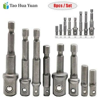 цена на 8pcs/set Socket Adapter Impact/Extension Set 1/4 3/8 1/2 Impact Hex Shank Drill Bits Bar Set Power Drill Adapter Tool Set AA0