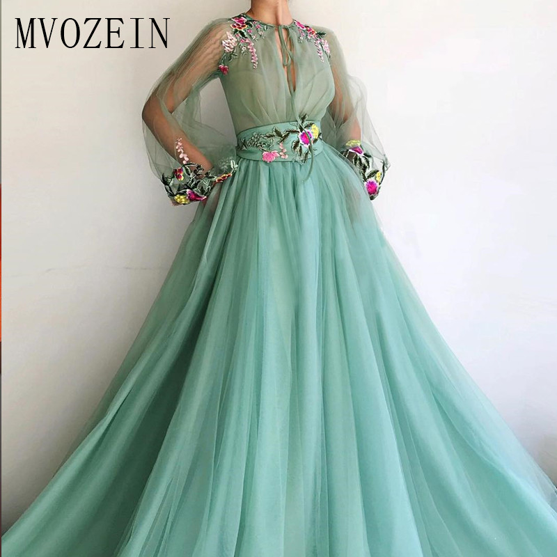 MVOZEIN 2019 Green Evening Dress Tulle A-Line Jewel-Neck Full Sleeves 3D Flower Long Evening Dresses Formal Party Gowns Vestidos