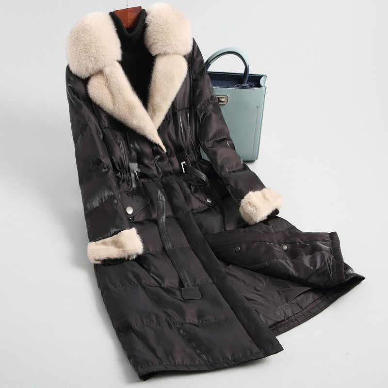 Ayunsue jaqueta feminina para baixo puffer jaqueta de inverno roupas femininas 2020 vison e gola de pele de raposa casaco longo feminino quente parka meu