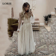 LORIE A Line Puff Sleeve Wedding Dresses V Neck Soft Tulle Robe de Mariee Backless Boho Gown Plus Size
