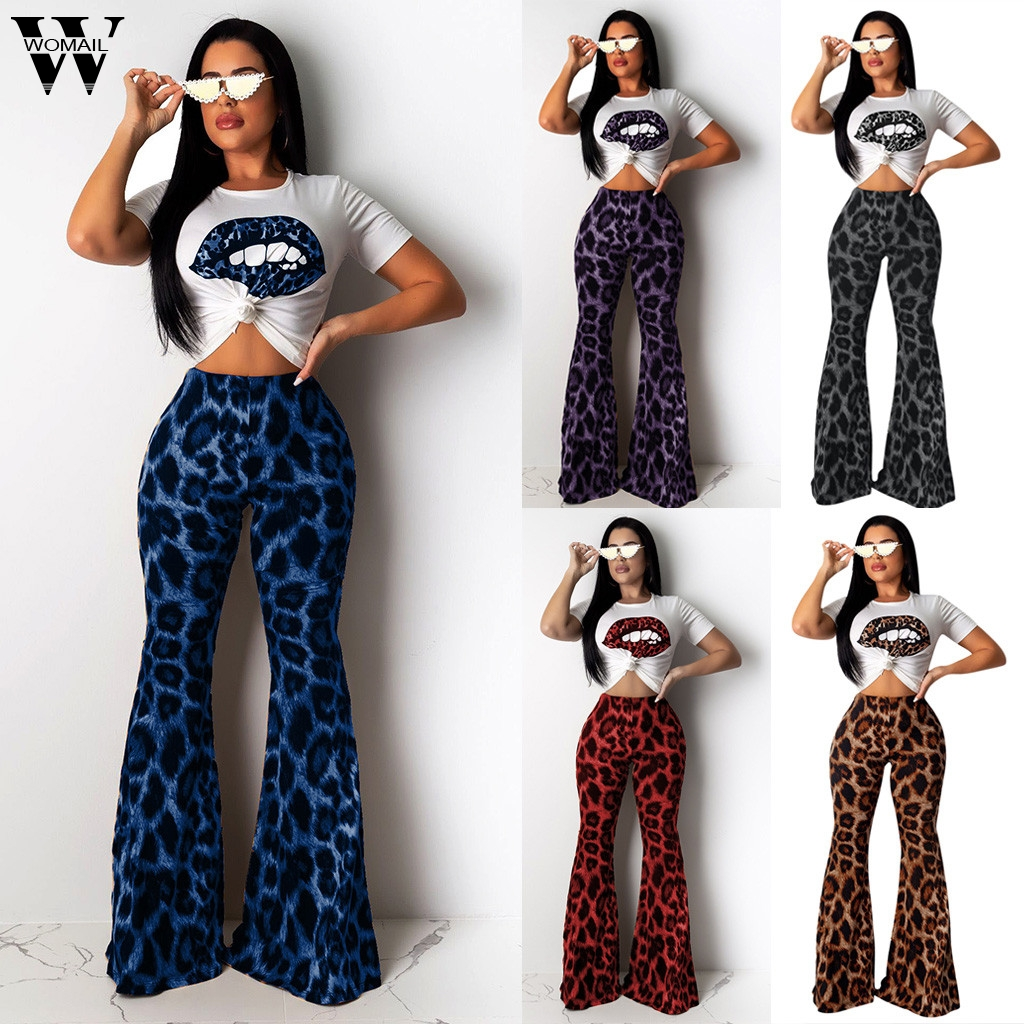 Womail Tracksuit Women Summer Leopard Print Fashion 2 Piece Set T-Shirt Crop Top+ Flare Leg Long Pant Suit Outfit Streetwear 101