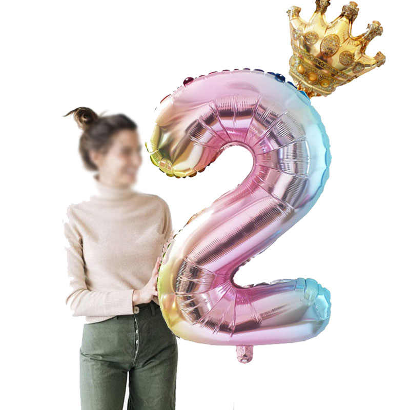 2pcs 32inch Rainbow Gradient Number Balloons With Mini Gold Crown Foil Balloon Unicorn Birthday Party Decorations Kids Ballon