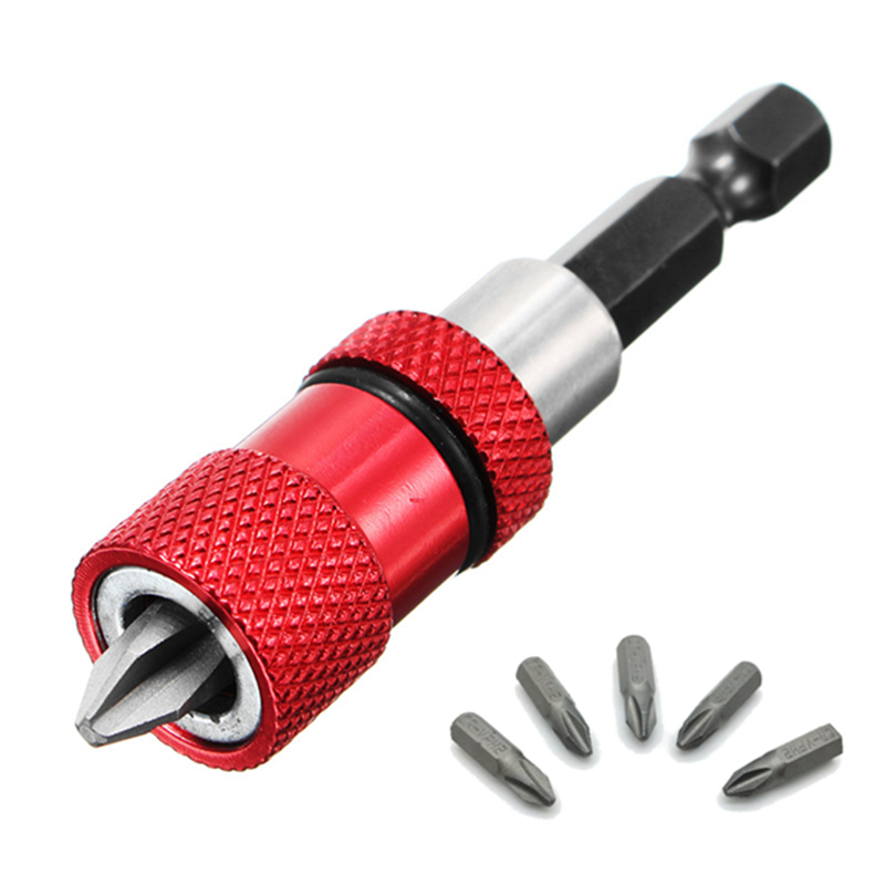 Red Adjustable Screw Depth Magnetic Screwdriver Bit Holder With 5pcs PH2 Scewdriver Bits
