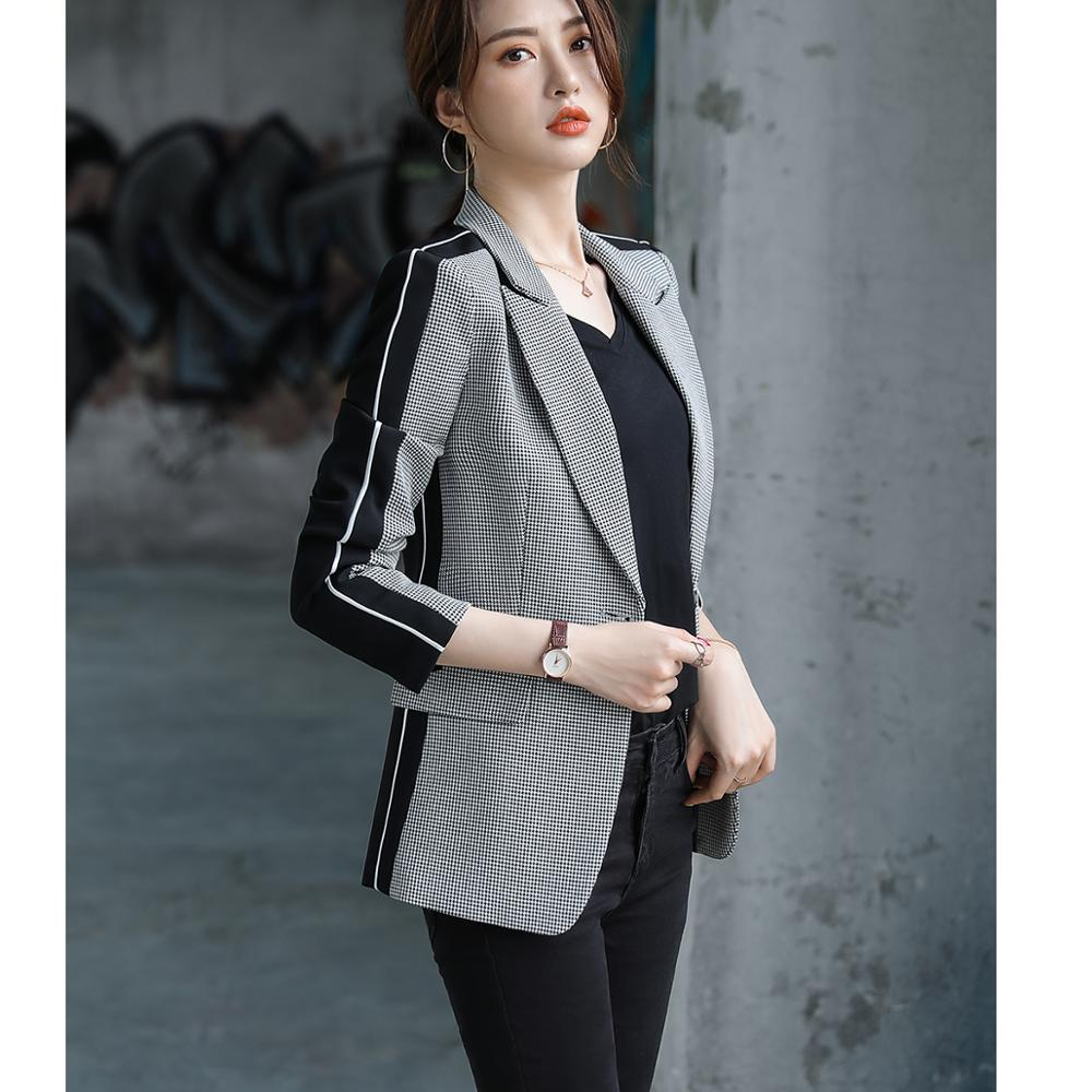 New Women Blazer Single Button Notched Collar Jackets With Pockets Gray Black Female Coat 5XL