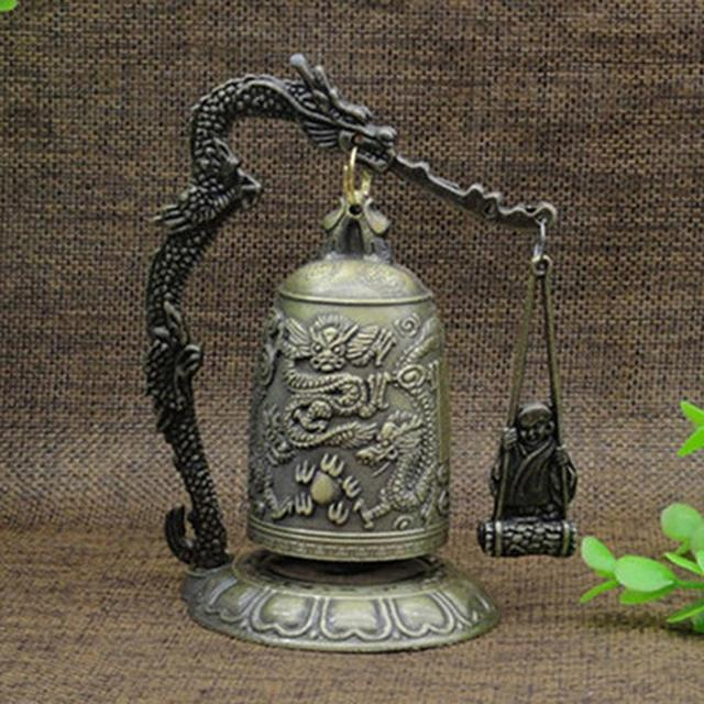 New Metal Bell Carved Dragon Buddhist Clock Good Luck Feng Shui Ornament Home Decoration Figurines 1