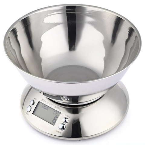 Balança de Cozinha de Aço Equilíbrio de Alimentos Digital com Tigela Inoxidável Balança Eletrônica Cozinha Precisão Escala Cozinhar Ferramenta 5kg – 1g