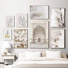 Taj mahal branco magnolia cereja paisagem da parede pintura da lona cartazes e cópias de parede para sala estar decoração