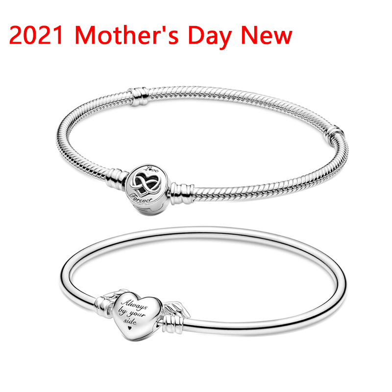 Lomeo 925 Silver 2021 Mother's Day New Moments Heart Infinity Clasp Snake Chain Bracelet Winged Bangle original DIY jewelry gift
