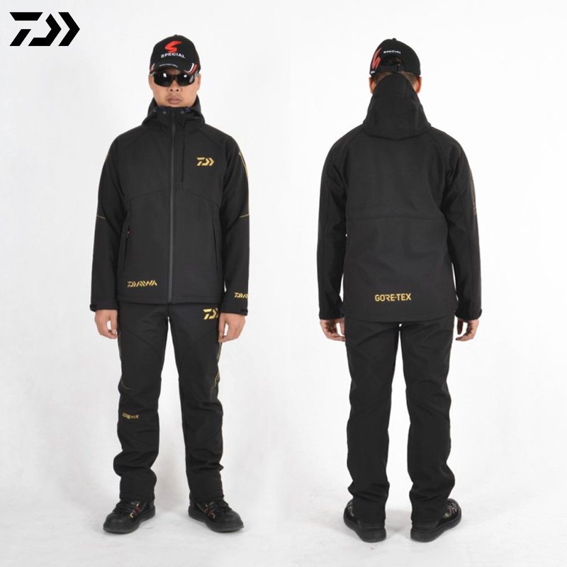 Daiwa  Men Winter Fishing Jacket And Pants Waterproof Outdoor Sports Quick Dry Fishing Jackets Trousers Suit Pant Plus Size 3XL