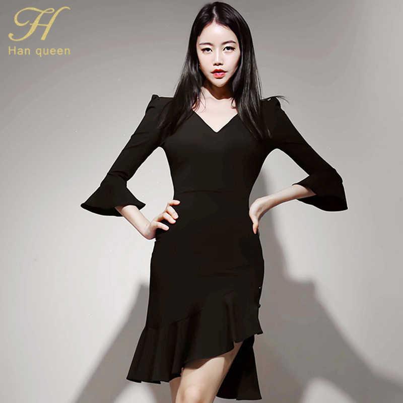 H Han queen с расклешенными рукавами, однотонное сексуальное платье-русалка, облегающее женское осеннее платье с оборками, платья с разрезом, повседневные платья