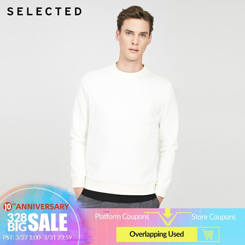 SELECTED Men's Off-white Long-sleeved Pullover Knitted Sweatshirt R|42014D505