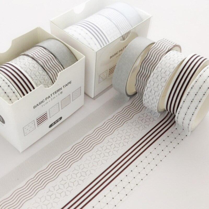 5 Pcs/Set Dot Line Bullet Journal Washi Tape Scrapbooking DIY Adhesive Tape Sticker Label Masking Tapes Washitape