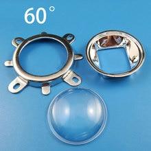цена на 3pcs 44mm Optical Glass LED Lens 60 Degree + 50mm Reflector Collimator + Fixed Bracket for 20W 30W 50W 100W COB High Power Chip