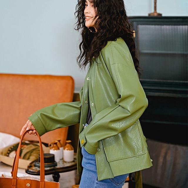 Ailegogo New Women Loose Pu Faux Soft Leather Green Jacket Turndown Collar Biker Overcoat Single Breasted Pocket Coat With Belt 2