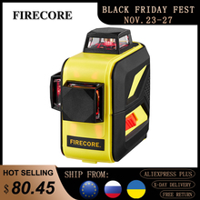 FIRECORE 3D 360 Laser Level 12Lines LR6/Lithium Battery Self-Leveling Horizontal&Vertical Cross Lines Outdoor Use Receiver