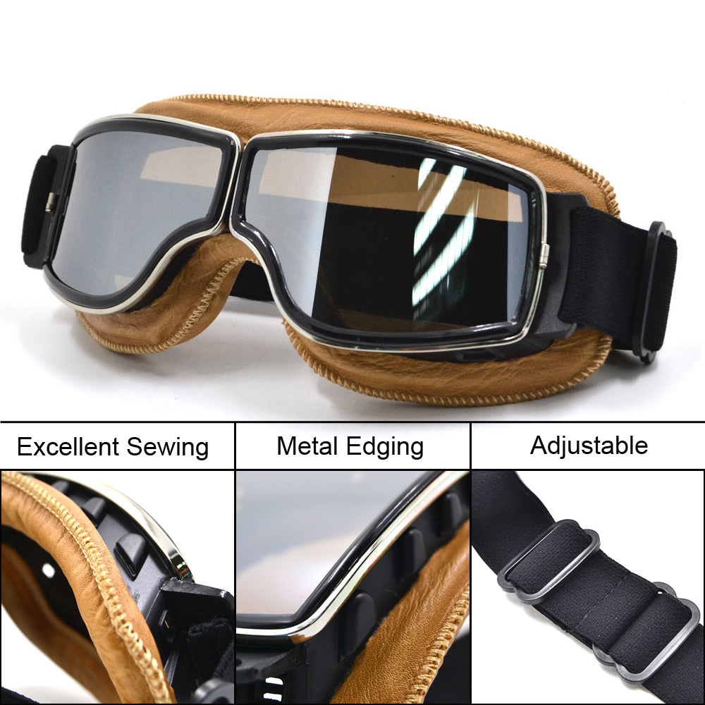 Motocross Goggles Moto Bike glasses ATV Lunette Motorcycle Helmet Glasses gafas goggles Vintage Steampunk Goggles w  Bag