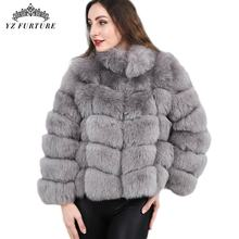 Coats Women Jacket Real-Fox-Fur Natural Luxury Stand-Collar Winter Thick Outwear Warm
