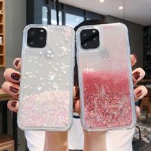 Płynne piaskowe Bling Glitter etui na telefony iPhone 12 11 Pro Max XS MAX X XR 6 6S 8 7 Plus 5 5S SE woda połysk krzemu okładka tanie tanio CN (pochodzenie) Aneks Skrzynki Sparkle Glitter Liquid Sand Quicksand Capinha Soft 11Pro Case SE 2020 Apple iphone ów