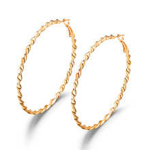 Punk Twisted Circle Hoop Earrings Gold/Silver Color Wave Pattern Ear Hoops For Women Creole Boucle D'oreille Female Party Bijoux
