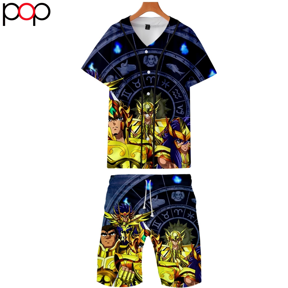 2020 Summer Men Causal Beach Suits Short Sleeve Shorts Sweatsuit+Pants Quick-dry Tracksuit Saint Seiya Sports Suits Sportswear