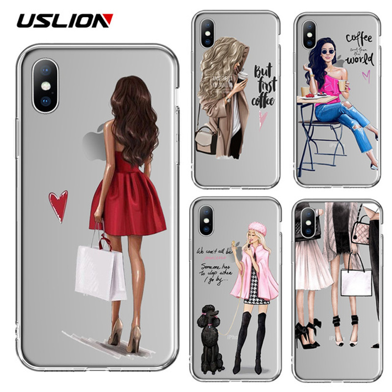 USLION Beautiful <font><b>Girl</b></font> Pattern Case <font><b>For</b></font> <font><b>iPhone</b></font> 6S <font><b>6</b></font> 7 8 Plus 11 Pro Max Transparent Soft Phone <font><b>Cover</b></font> <font><b>For</b></font> <font><b>iPhone</b></font> 11 X XR XS MAX image