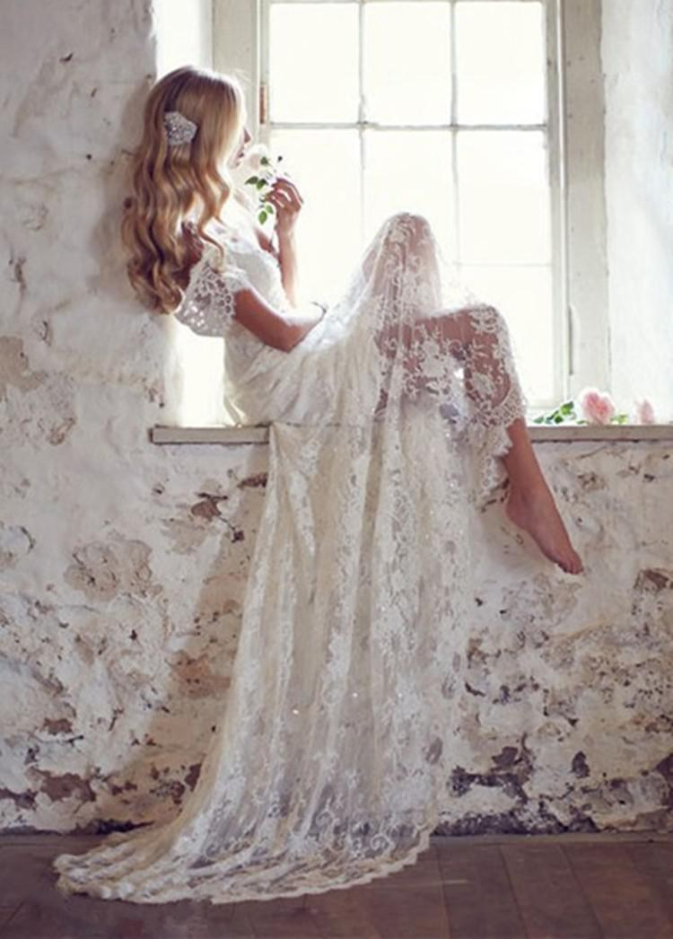 Vintage  Vestidos Madrinha Lace With Cap Sleeves Bohemian Beach Gown Backless Long Vestido De Noiva Mother Of The Bride Dress