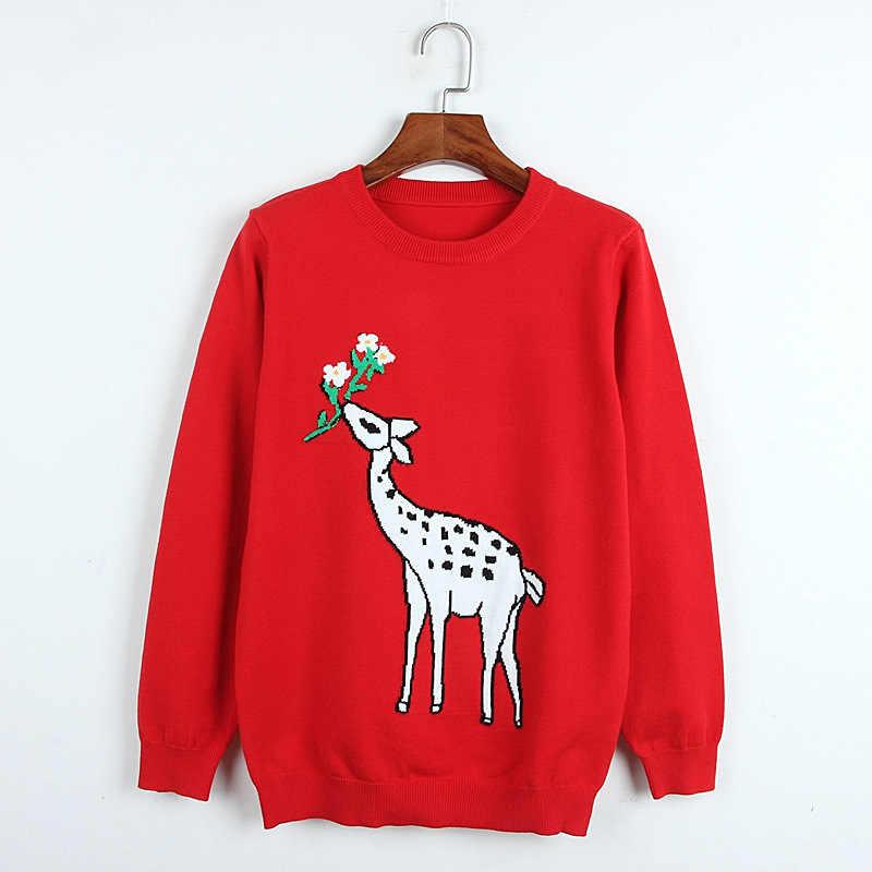 Жаккардовый свитер с героями мультфильмов на раннюю осень, красный свитер с оленем с круглым вырезом и длинными рукавами, вязаный свитер женский