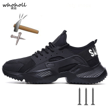 The New 36-46 Lightweight Safety Shoes Men Steel Toe Anti-crush Work Breathable Sneakers Wear-resistance