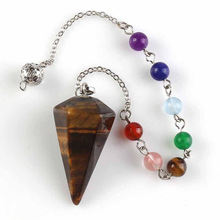 Natural Stones Pendulum for Dowsing Divination 7 Chakra Chain Hexagonal Column Pendant Reiki Pink Quartz Crystal Pendule Amulet