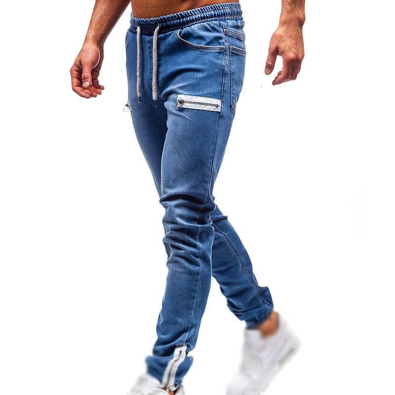 Skinny Jeans Men Blue Pants Casual Jeans Zipper Sweatpants Wear-resistant 2019 Men Slim Fit Trousers New Arrival Mens Jeans