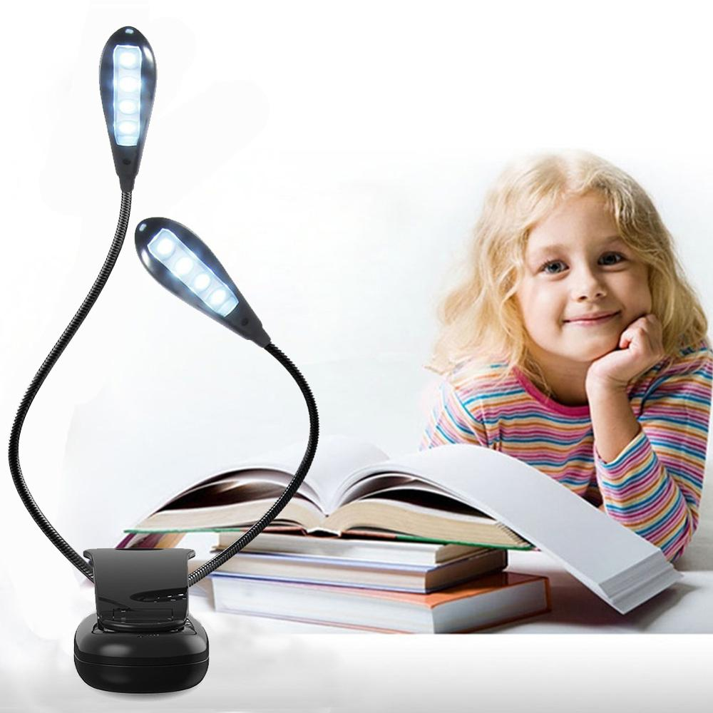 Rechargeable 8 LED Eye-care Book Light Clip On Bed Reading Light Music Stand Lamp With 2 Flexible Gooseneck Arms