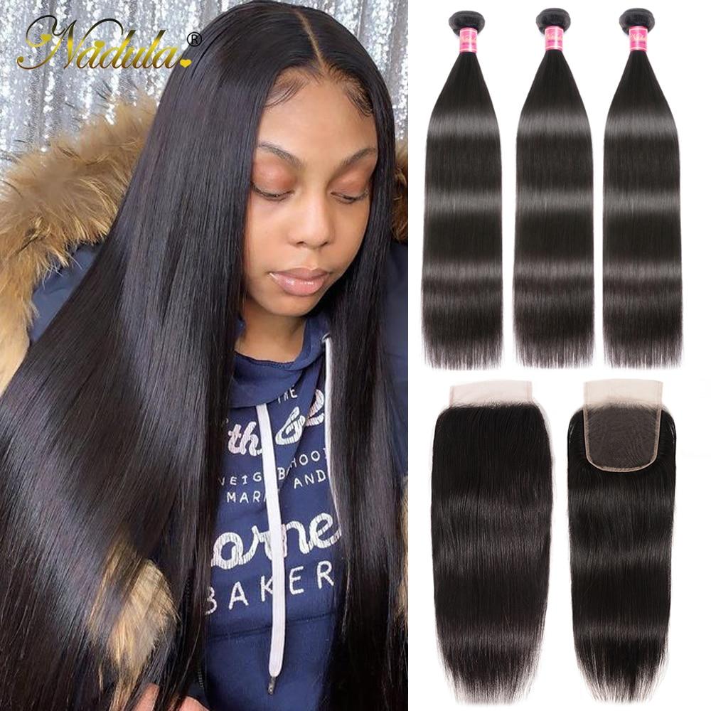 Nadula  Straight Hair Bundles With Closure 3 Bundles Hair Straight  Bundles With Closure 1