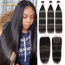 Nadula Haar Peruaanse Steil Haar Bundels Met Sluiting 3Pcs Peruaanse Haar Straight Remy Human Hair Bundels Met Sluiting