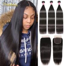 Nadula cabelo peruano pacotes de cabelo reto com fechamento 3 pçs peruano cabelo remy em linha reta feixes de cabelo humano com fechamento