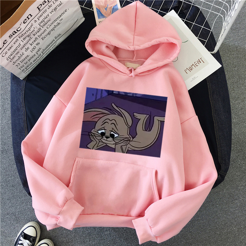 Hef142f163a304f33a201696959efd32do - Harajuku Hoodies for Girls Cat Mouse White&pink Hooded Tops Women's Sweatshirt Long-sleeved Winter Tops Women Hoodies Kawaii