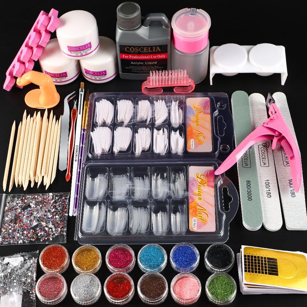 Pro Nail Acrylic Kit Powder Glitter Full Manicure Set For Nail Art Liquid Decoration Crystal Brush Tips Tools Kit For Manicure 10
