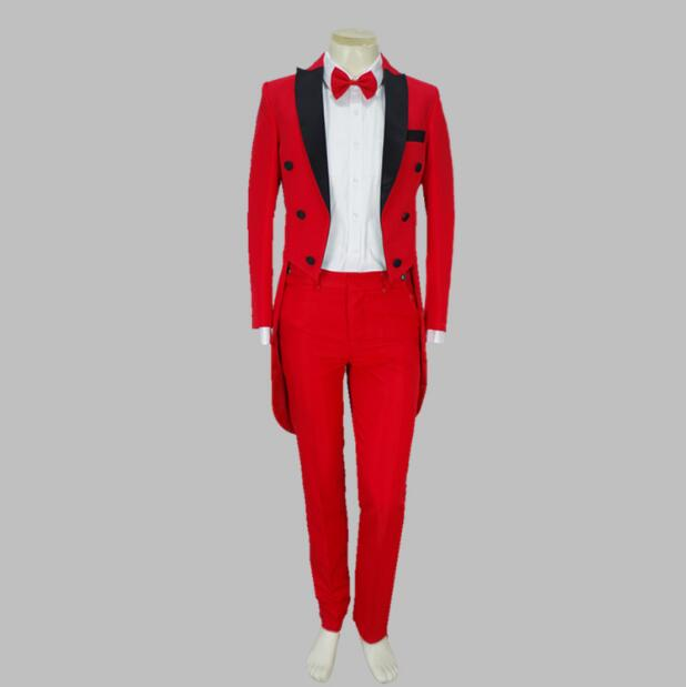Acket + Pants New Red And White Tuxedo Suit Luxury Personality Suits Male Party Blazers Men Wedding Suit Men Fashion Slim Coat