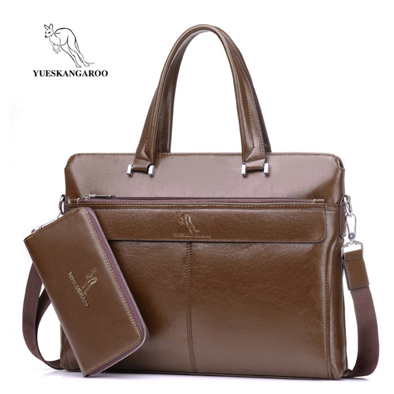 YUESKANGAROO Men's Bag Business Laptop Handbag Vintage Leather Briefcase Man Leisure Crossbody Shoulder Bag For Documents Bag